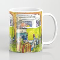 volkswagon Mugs featuring VW Bus Campsite by Barb Laskey Studio