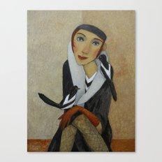 TWO MAGPIES  by Svetlana Kurmaz Canvas Print