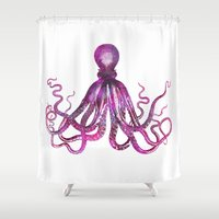 octopus Shower Curtains featuring Octopus by LebensART