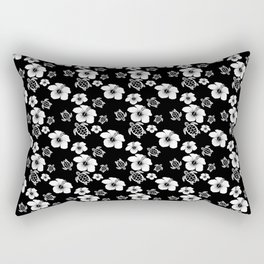 Black And White Floral And Turtle Hawaiian Pattern Rectangular Pillow