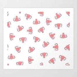 Crazy Happy Uterus in White, Large Art Print