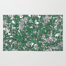 Green and White Camo Rug