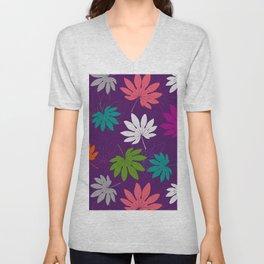 Purple tropical leaves Unisex V-Neck