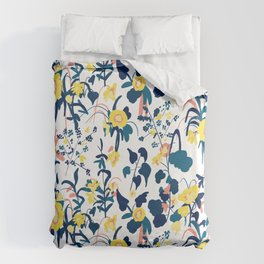 Buttercup yellow, salmon pink, and navy blue flowers on white background pattern Duvet Cover