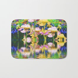 YELLOW IRIS WATER GARDEN REFLECTIONS Bath Mat
