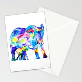 Colorful family elephants Stationery Cards
