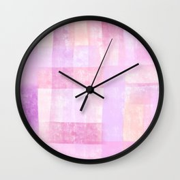 Toward the Pink Clouds - pink abstract painting colorful modern art stripes Wall Clock