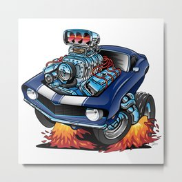 Classic Sixties American Muscle Car Cartoon Illustration Metal Print