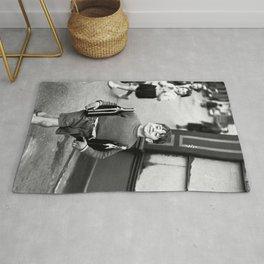 Little Boy and Bottles of Wine, Black and White Vintage Art Rug