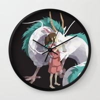 spirited away Wall Clocks featuring Spirited Away by ThisTinyBean.