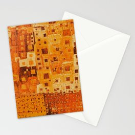 City Grid Pattern in Earth Tones Stationery Cards