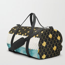 Black, white, gold and blue marble scales pattern Duffle Bag