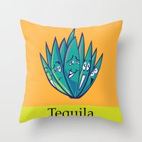 tequila Throw Pillows featuring Tequila by Heather Martinez
