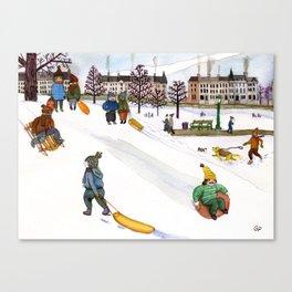 Sledding in Prospect Park Canvas Print