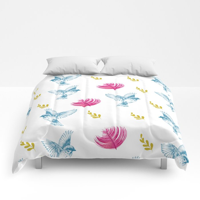 Blue Bird Pattern #society6 #decor #buyart Comforters