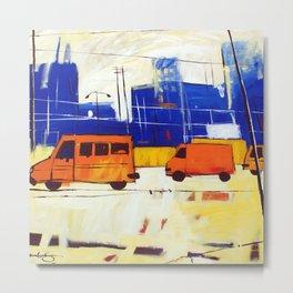 Yellow Buses Metal Print