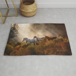 Horses in a Golden Meadow by Georgia M Baker Rug