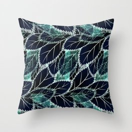 Bright turquoise leaves on a black background. Throw Pillow