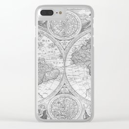 Antique Gray Map Clear iPhone Case