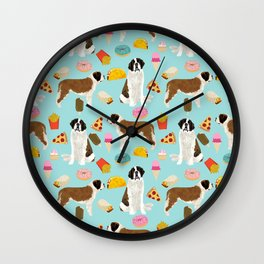 St. Bernard junk food fast food french fries dog breed pattern cute pet gifts Wall Clock