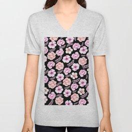 Watercolor coral pink black tropical floral Unisex V-Neck