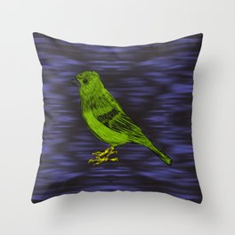 Green Bird on Trippy Purple Throw Pillow
