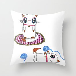 Day with Ginger Cat Throw Pillow
