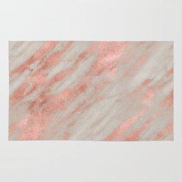 Marble Rose Gold White Marble Foil Shimmer Rug