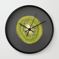 kiwi Wall Clocks featuring kiwi by jon hamblin