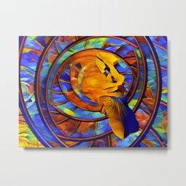 Angry Gold Fish Says Eat More Salad Metal Print