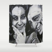 tim burton Shower Curtains featuring Elizabeth Taylor and Richard Burton by Robert E. Richards