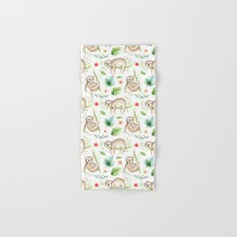 Modern hand painted green brown watercolor tropical floral sloth Hand & Bath Towel
