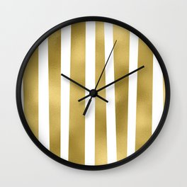 Gold unequal stripes on clear white - vertical pattern Wall Clock