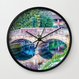 Little bridge in the Ticino river natural park during winter before sunset Wall Clock