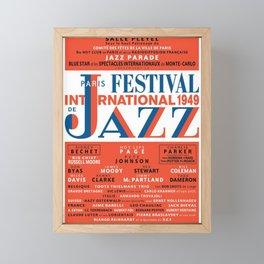 Vintage 1949 Paris International Jazz Festival Poster Framed Mini Art Print