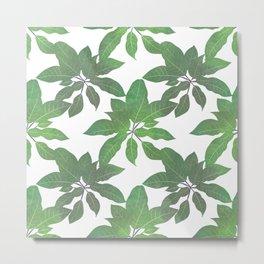 Elegant tropical Green leaves White design Metal Print