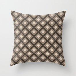 Pantone Hazelnut Zigzag, Diamond Square Pattern Throw Pillow