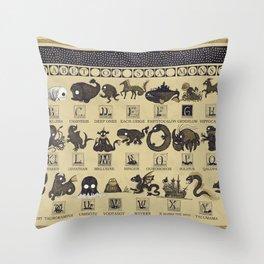 Alphabet of Sea Monsters Throw Pillow