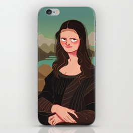 The mysterious smile of Mona Lisa iPhone Skin