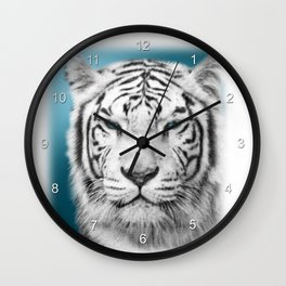 Blue Eyed White Tiger Wall Clock