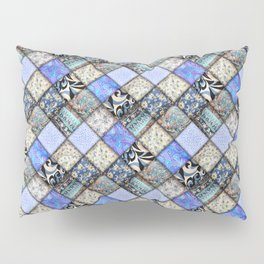 Faux Patchwork Quilting - Blues Pillow Sham
