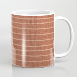 Boho, Mudcloth, Minimal, Line Art, Stripes, Terracotta Coffee Mug