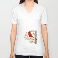 cardinal V-neck T-shirts featuring Cardinal by Stephanie Fizer Coleman