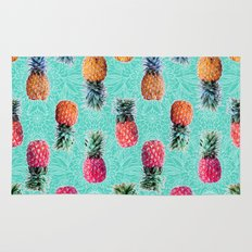 From Pineapple to Pink - tropical doodle pattern on mint Rug