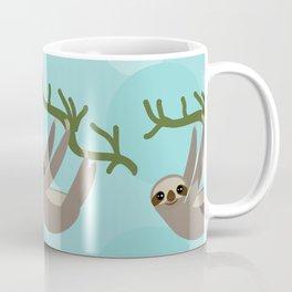 Three-toed sloth on green branch blue background Coffee Mug