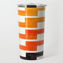 Orange & Black Geometric Minimal Mid Century Modern Lightning Bolt Pattern Watercolor Art Travel Mug