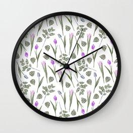 Elegant lilac blush pink blue watercolor tulips pattern Wall Clock