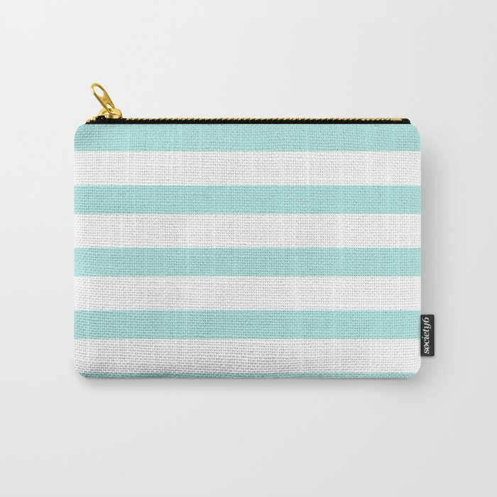 Aqua blue and White stripes lines - horizontal on #Society6 Carry-All Pouch