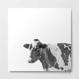 Cow Photography Animal Art | Minimalism black and white | black-and-white | Peek-a-boo Metal Print