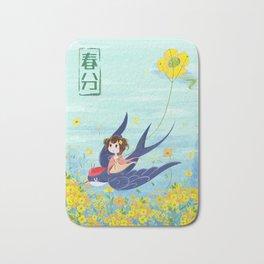 Spring Animal And Girl Bath Mat